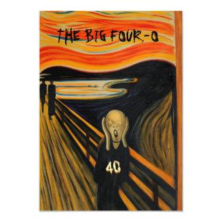 The Scream - Funny 40th Birthday 13 Cm X 18 Cm Invitation Card