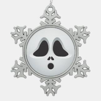 The scream Halloween Emoji Snowflake Pewter Christmas Ornament