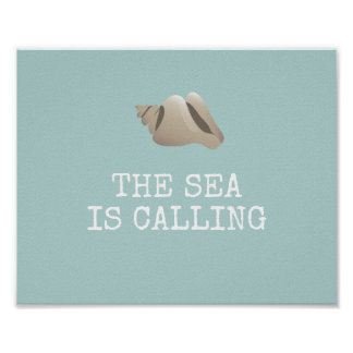 The Sea is Calling | Seashell Personalize Beach Poster