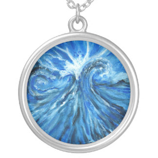The sea meets sky silver plated necklace