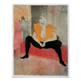 The Seated Clowness by Henri de Toulouse-Lautrec Poster