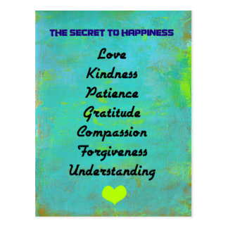 The Secret To Happiness Typography Design Postcard