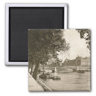 The Seine, Paris, France Vintage Square Magnet
