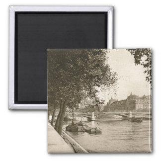 The Seine, Paris, France Vintage Square Magnet