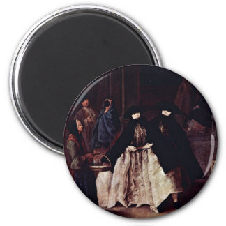 The Seller Of The Essences By Longhi Pietro 6 Cm Round Magnet