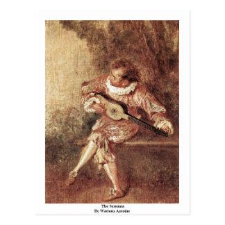 The Serenata By Watteau Antoine Postcard