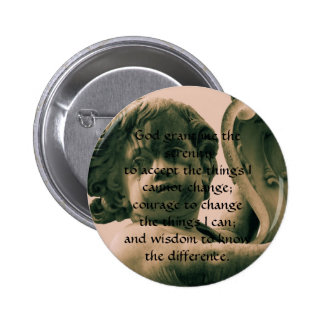The Serenity Prayer on vintage angel photograph 6 Cm Round Badge