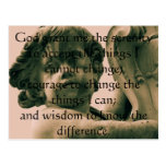 The Serenity Prayer on vintage angel photograph Postcards
