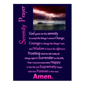 The Serenity Prayer Open Sea Postcard