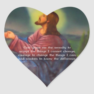 The Serenity Prayer With Jesus Christ Painting Heart Sticker