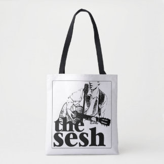 """the sesh"" White Tote Bag"