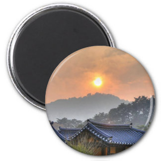 The Setting Sun in Asia Magnets