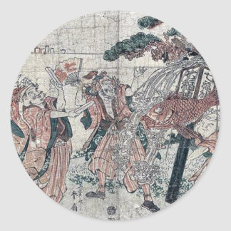 The seven gods of good luck by Katsukawa,Shunsen Round Sticker
