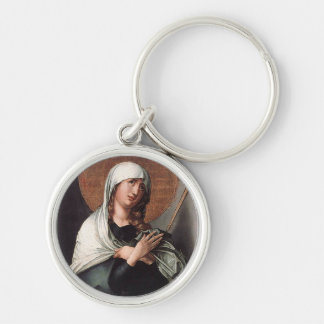 The Seven Sorrows of the Virgin Mother Silver-Colored Round Key Ring