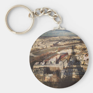 The shadow of the Eiffel Tower Basic Round Button Key Ring
