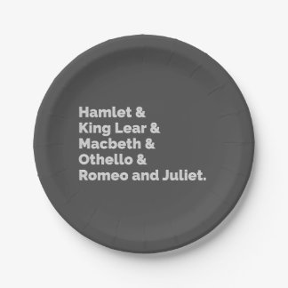 The Shakespeare Plays I Paper Plate