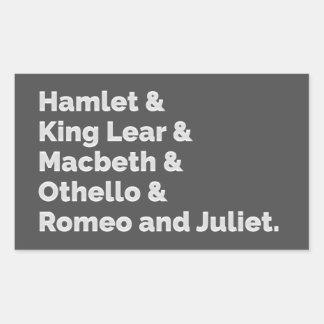 The Shakespeare Plays I Rectangular Sticker
