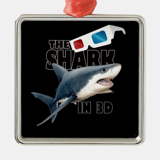 The Shark Movie Silver-Colored Square Decoration