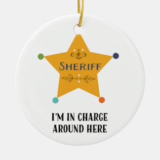 The Sheriff Round Ceramic Decoration