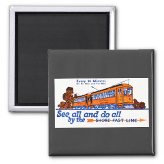 The Shore Fast Line Trolley Service Square Magnet
