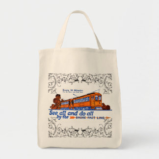 The Shore Fast Line Trolley Service Grocery Tote Bag