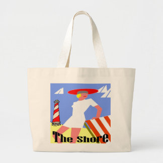 The Shore, Gal at Lighthouse Large Tote Bag