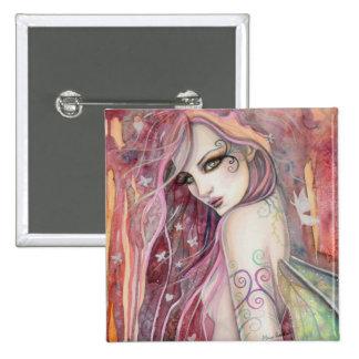 The Shy Flirt Modern Fairy Fantasy Art 15 Cm Square Badge