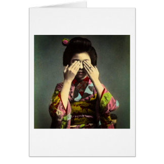 The Shy Geisha Vintage Old Japan Hand Colored Card