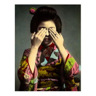 The Shy Geisha Vintage Old Japan Hand Colored Postcard