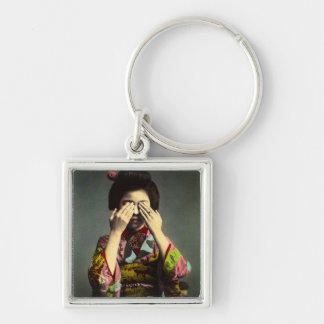 The Shy Geisha Vintage Old Japan Hand Colored Silver-Colored Square Key Ring