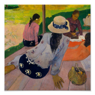 The Siesta by Paul Gauguin Tahitian Women Tahiti Poster