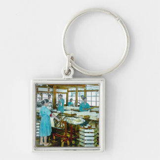 The Silk Twisters of Old Japan Silk Factory Silver-Colored Square Key Ring