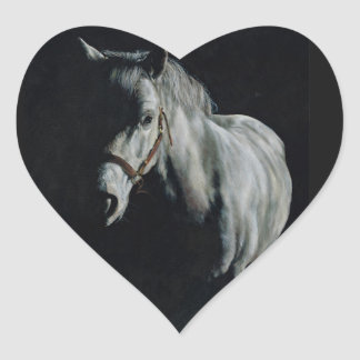 The Silver Horse in the shadows Heart Sticker