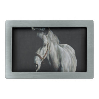 The Silver Horse in the shadows Rectangular Belt Buckle
