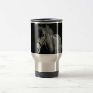 The Silver Horse in the shadows Travel Mug