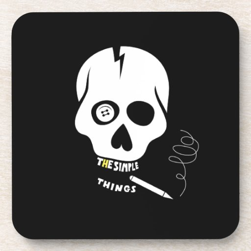 The simple things skull beverage coaster
