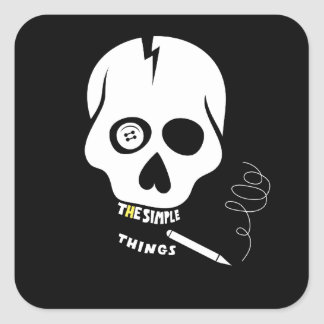 The simple things skull square sticker