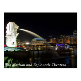 The Singapore Merlion and Esplanade Theatres Postcard