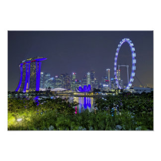 The Singapore Skyline by Night Poster