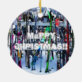 The Ski Party - Skis and Poles Ceramic Ornament