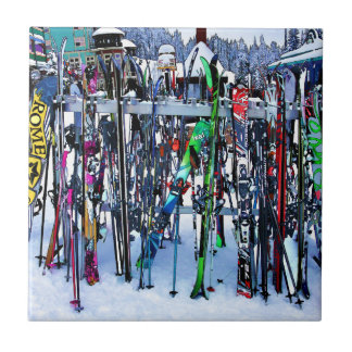 The Ski Party - Skis and Poles Tile
