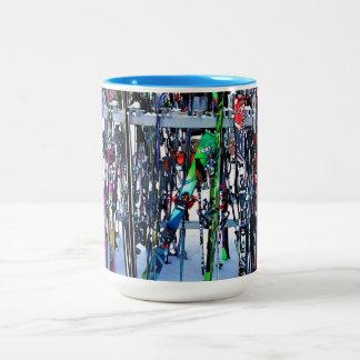 The Ski Party - Skis and Poles Two-Tone Coffee Mug