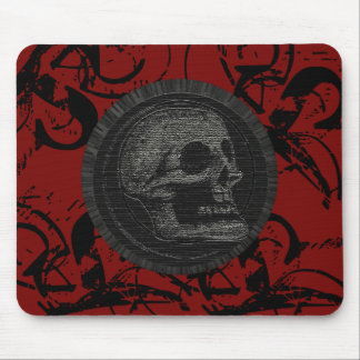 the Skull! (Circle Design 1) Style 3 Black on Red Mouse Pad
