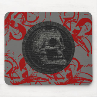 the Skull! (Circle Design 1) Style 3 Grey/Red Mouse Pad