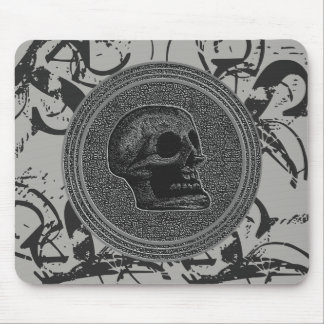the Skull! (Circle Design ) 2018 Grey on Stone Mouse Pad