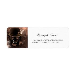The skull fighter return address label