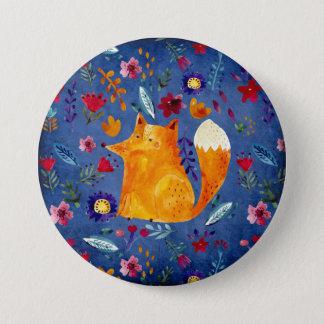 The Smart Fox in Flower Garden 7.5 Cm Round Badge