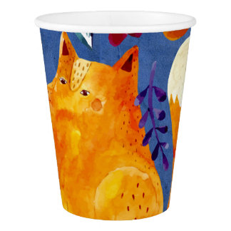 The Smart Fox in Flower Garden Paper Cup