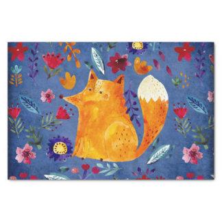 The Smart Fox in Flower Garden Tissue Paper