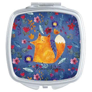 The Smart Fox in Flower Garden Vanity Mirror